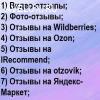 Отзывы на заказ Wildberries Ozon Видео-отзывы Фото-отзывы IR
